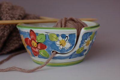 Knitting Bowl with Blue Butterfly Pattern